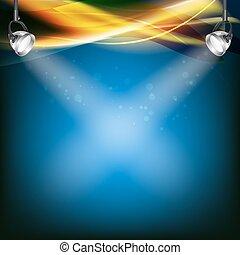 retro, blå baggrund, hos, plet lyser, transparent, farve, lines., vektor, illustration