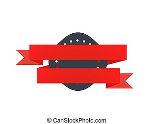 Retro black badge with red tape on white