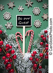 Retro Black Christmas Sign,Lights, Text Be Our Guest