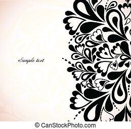 Retro black floral design. Vector illustration
