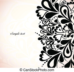 Retro black floral design. Vector illustration