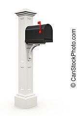Retro black mailbox isolated on white background