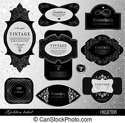 Retro black silver label