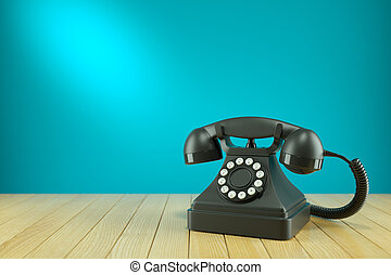 Retro black telephone on wooden table. Concept 3d