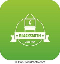 Retro blacksmith icon green vector