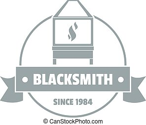 Retro blacksmith logo, simple gray style