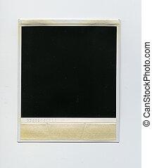 Retro blank black instant aged polaroid photo frame with dust, border isolated