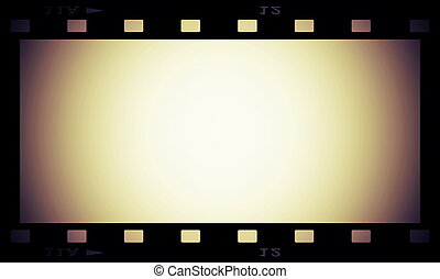 retro blank film strip frame isolated on white