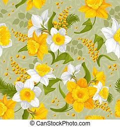 retro, bloem, seamless, model, -, daffodils