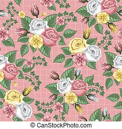 retro, bloem, seamless, model, -, rozen