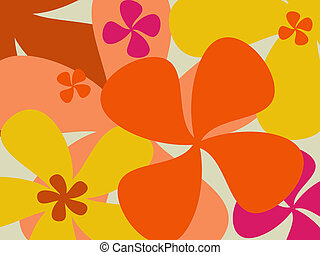 retro, blomst, baggrund