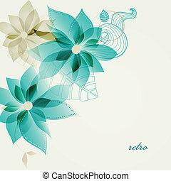 retro, blomstrede, baggrund, vektor
