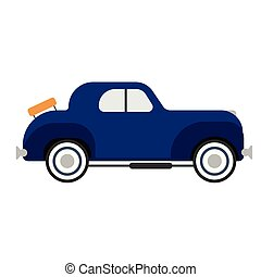 retro blue car flat illustration on white