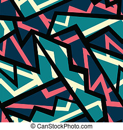 retro blue geometric seamless pattern