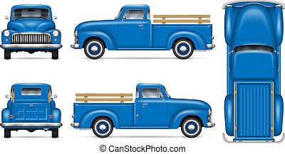 Retro blue pickup vector illustration