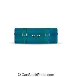 Retro Blue Suitcase Isolated on White