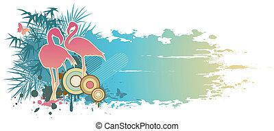 blue summer banner - retro blue summer banner with flamingo