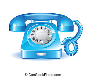 Retro blue telephone on a white background
