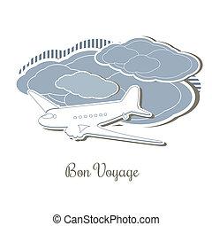 Retro blue travel design