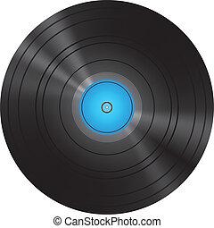 Retro Blue Vinyl Disc Record Vector Illustration