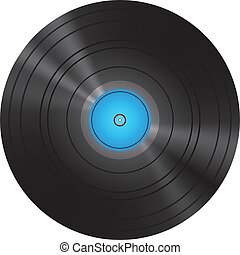 Retro Blue Vinyl Disc Record Vector Illustration
