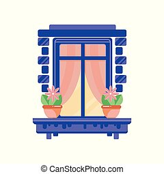 Retro blue window frame with plants in ceramic pots, architectural design element vector Illustration on a white background