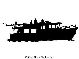 Retro boat on white