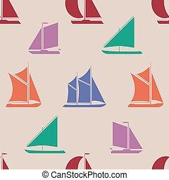 Retro boat seamless pattern.