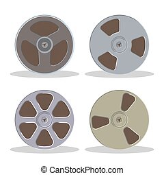 Retro bobbin audio cassette isolated on a white background. Vintage style music storage icon. Old record player tape.