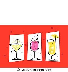 retro, boissons, isolé, trois, rouges
