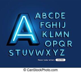 Retro Bold Neon Tube Lettering Vector