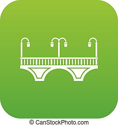 retro, boltoz bridzs, ikon, zöld, vektor