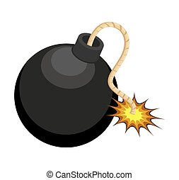 Abstract Retro Comic Explosive Bomb Burning Vector Graphic Object
