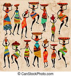 retro, bonito, africano, mulheres