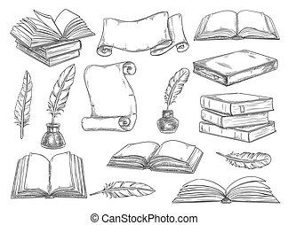 Retro books and literature quills vector sketch - Old ...