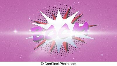 retro, boom, texte, parole, contre, étoiles, pourpre, briller, fond, bulle