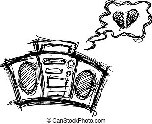 retro boombox in doodle style