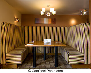 Retro Booth - Retro cosy restaurant booth with stripy fabric...