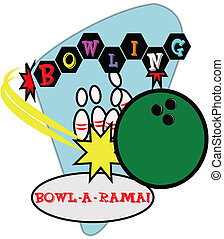 retro bowling illustration - bowling lanes illustration...