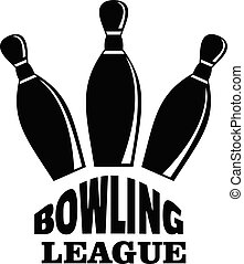 Retro bowling league logo, simple style