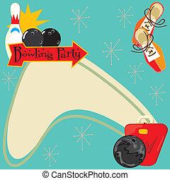 Retro Bowling Party Invitation - Fun Retro party invitation