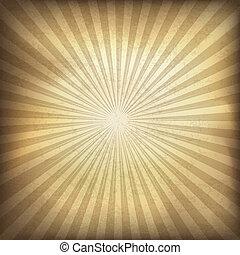 retro, brauner, sunburst, hintergrund., vektor, abbildung,...