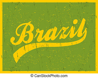 Retro style typographic Brazil poster in bright yellow and green.