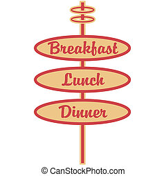Retro Breakfast Lunch Dinner Sign