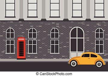 Retro brick building cityscape flat design vector illustration