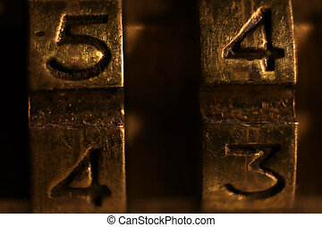 Retro Bronze Lock Numbers 5 4 4 3.