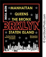 retro Brooklyn, Poster, Vector.