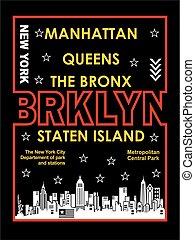 retro Brooklyn, Poster, Vector.