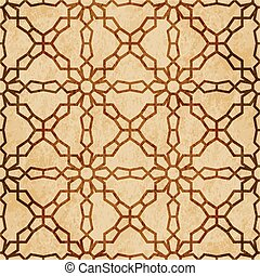 Retro brown watercolor texture grunge seamless background cross flower geometry frame chain