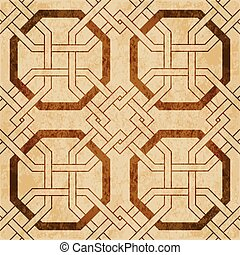 Retro brown watercolor texture grunge seamless background octagon frame cross chain geometry